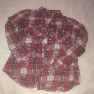 Joe Boxer Women's Red Flannel Button Up Shirt